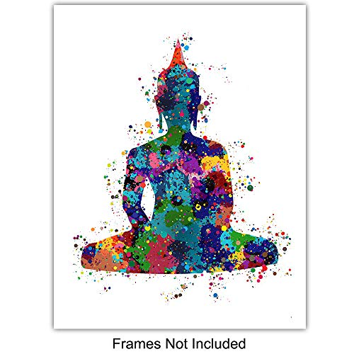 Meditation Zen Wall Art Prints - Unframed Set Of 4 - Buddha, Yin Yang, Om And Hamsa Fatima Hand - Chic Home Decor… 2