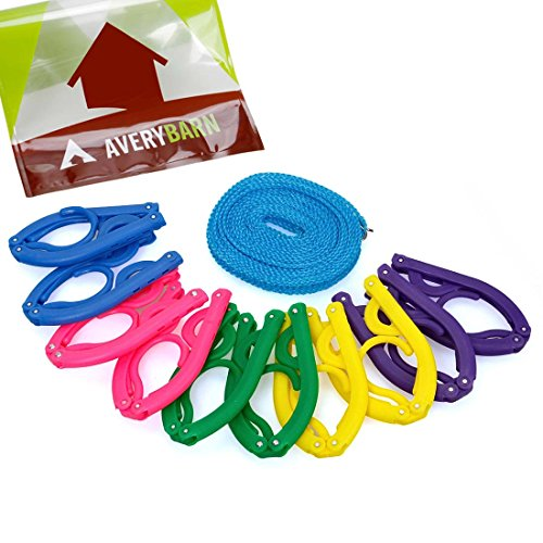Avery Barn 10pc Multi Color Foldable Hangers With 16ft Outdoor Clothesline - Trip Needed Camping Things For