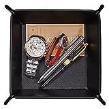 Men Valet Tray,Jewelry Tray Key PU Leather Valet Tray Box,OARIE Fully PU Leather Storage Tray(Black)
