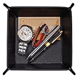 OARIE Men Valet Tray,Jewelry Key PU Leather Valet Tray Box, Fully PU Leather Storage Tray