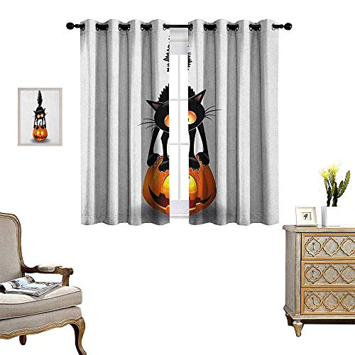 Warm Family Halloween Blackout Window Curtain Black Cat on Pumpkin Drawing Spooky Cartoon Characters Halloween Humor Art Customized Curtains W55 x L72 Orange Black for $<!--$47.40-->