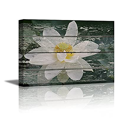 Canvas Prints Wall Art - White Lotus Flower in Water on Vintage Wood Background Rustic Home Decoration - 12
