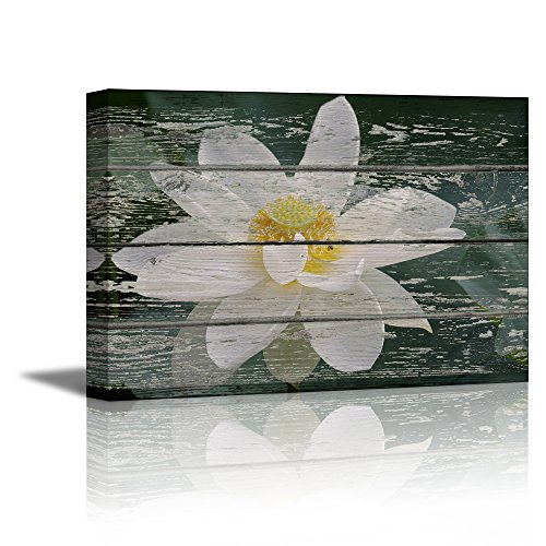 White Lotus Flower in Water on Vintage Wood Background Rustic ation