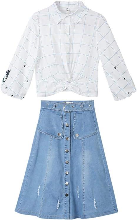 BINGQZ Camisa Vaquera Vestido de Mujer Primavera 2019 Primavera Traje de Dos Piezas Falda Marea Primavera: Amazon.es: Deportes y aire libre