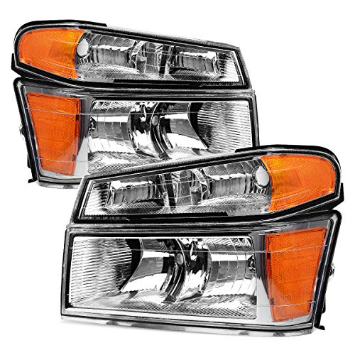 For 2004-2012 Chevy Colorado/GMC Canyon Headlights, OEDRO Replacement 06-08 suzu i-Series 4-Dr & 2-Dr Chrome Housing + Bumper Lights Amber Side Clear Lens Headlamps Set Left+Right, 2-Yr Warranty 2 Amber Lens Set