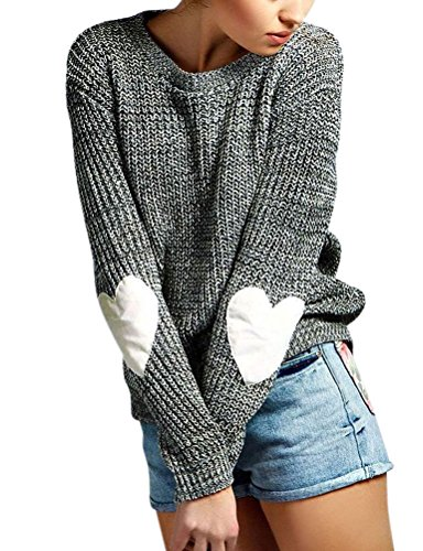 ZXZY Women Heart Pattern Patchwork Long Sleeve Round Neck Knits Sweater Pullover,Grey,Large (Round Neck Knit Sweater)