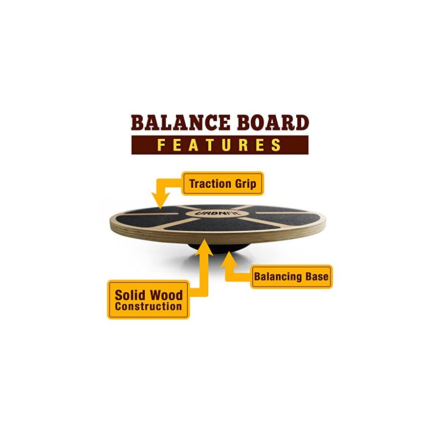 URBNFit Balance Board Wooden Wobble Board Trainer for Exercise, Standing Desk and Physical Therapy Rotational Exercises Provide A Full Body Fitness Workout Focusing On Core, Legs, Back