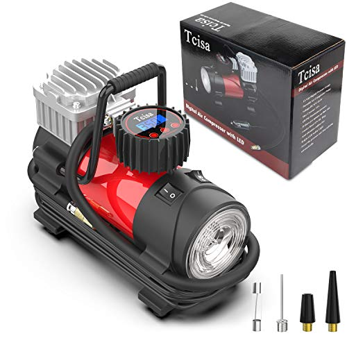 (Tcisa 12V DC Portable Air Compressor Pump - Upgraded Digital Tire Inflator with Gauge 140W 150 PSI)