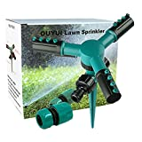 OUYUI Lawn Sprinkler Garden Sprayer 360 Degrees Auto Rotating Yard Sprinkler System with 3 Watering Arm Sprayers and Hose Connector (Green)