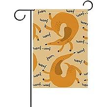 "Starboston Cute Dachshund Garden flag 28""X40"" Two Sided Yard Decoration Polyester Outddor Flag"