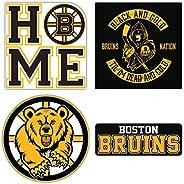 "Bruins Hockey - Boston Set of 4 Car Bumper Stickers Decals 5"" Longer"