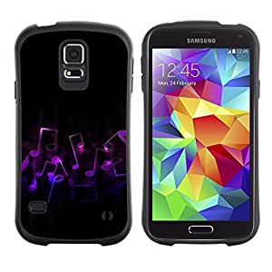 Suave TPU Caso Carcasa de Caucho Funda para Samsung Galaxy S5 SM-G900 / Music Notes Art Purple Love Symbol Dance / STRONG