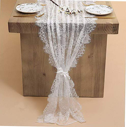 Gatton 30x120 Inch Table Runner with Lace, Farmhouse Decoration, White Country ding Lace Table Runner, Bridal & Shower Decor,Spring ding Table Runner | Model WDDNG - 513 | 1 Piece