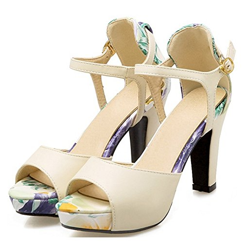 TAOFFEN Women Classical Block High Heel Peep Toe Buckle Strap Multicolor Sandals Beige qv1qvTk9Dn