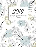 2019: Yearly Monthly and Weekly Planner with Address Contact Organizer Paper 2019 Calendar with College Ruled Paper and Grid Paper Blue Flower Style