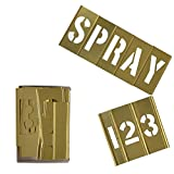 Deezio 4 Inch Brass Interlocking Stencil Set of Numbers and Letters Kit - 46 Piece Set