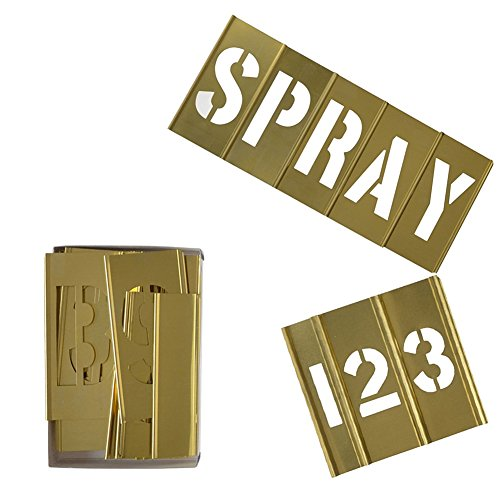 Deezio Brass Letter Stencils and Number Stencils 3 Inch Interlocking Alphabet Stencils - 46 Piece Set