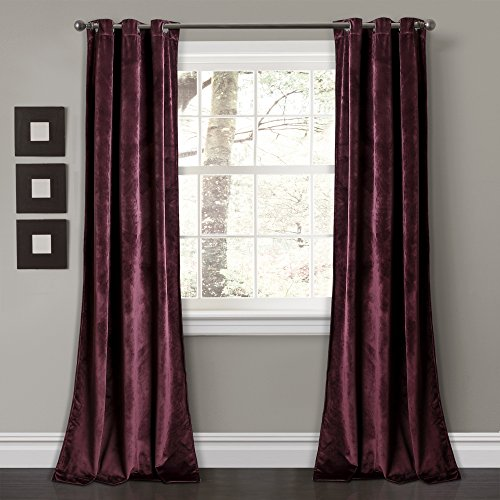 Eggplant Curtains (Lush Decor Décor Prima Velvet Solid Room Darkening Window Curtain Panel Pair, 84