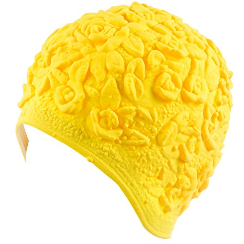 (Beemo Latex Swim Cap - Women Stylish Swimming Cap Great for Ladies, Perfect to Keep Hair Dry - Suitable for Long Hair - Embossed Flower - Yellow)