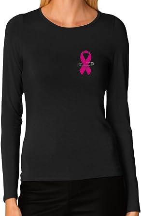 Womens Breast Cancer Awareness Long Sleeve T-Shirt Pink Ribbon Pocket Print