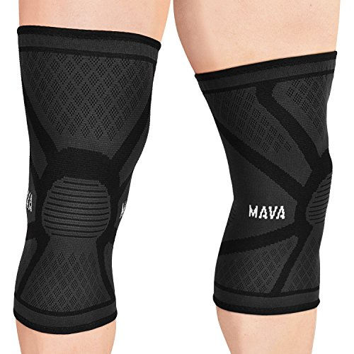 Mava Sports Knee Compression Sleeve Support (Black, - Wraps Knee Sports
