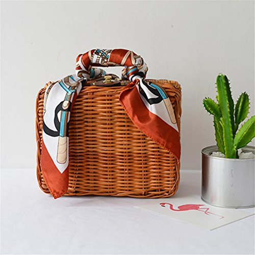 Luggage Amuele Beach Box scarf BA214 Weave Trunk Lady Women's with Straw HandScarves 0w0rT
