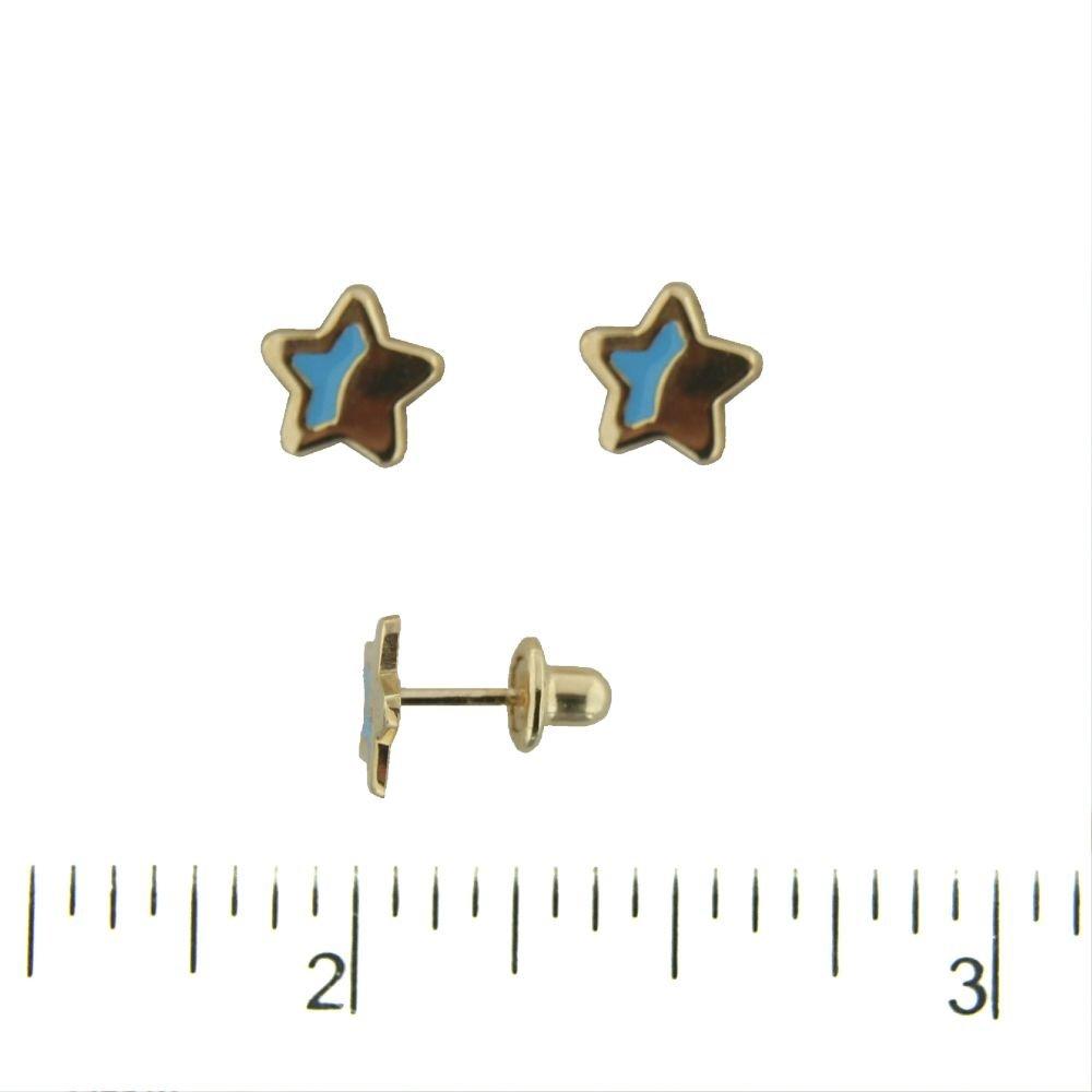 18K Yellow Gold Blue Enamel Star Covered Screwback Earrings