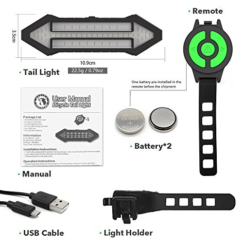 Bike Rear Lights, Indicator Bicycle Tail Light, Easy Control&Cycling Safety, Wireless Rear Flashlight, 500 Lumen LED Rechargeable Red Signal Light On Any Road Bike by HAHAKEE-life (Image #4)