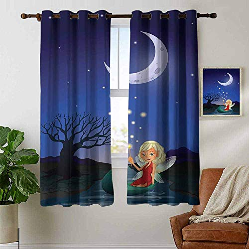 petpany Thermal Insulated Blackout Curtain Fantasy,Elf Pixie Sitting on The Boat Under Full Moon Sky Night Magic Fairy Girlish Graphic,Multicolor,Blackout Draperies for Bedroom Living Room 52