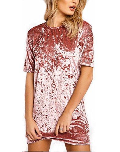 Short Sleeve Velvet Skirt - J.B.Y Women's Crushed Velvet Short Sleeve Casual T Shirt Mini Dress (M, PK)