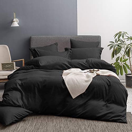 Merryfeel Duvet Cover Set,Ultra Soft Brushed Microfiber Hotel Collection 3 Pieces Bedding Set-Comforter Cover with 2 Pillow Shams,Black -Full/Queen