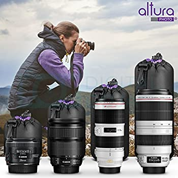 (4 Pack) Altura Photo Thick Protective Neoprene Pouch Set For Dslr Camera Lens (Canon, Nikon, Pentax, Sony, Olympus, Panasonic) - Includes: Small, Medium, Large & Extra Large Pouches 3
