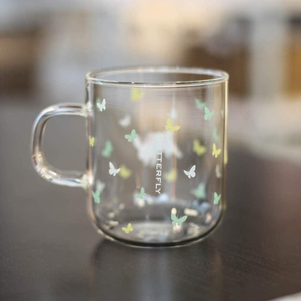 AFASSW Taza de café de Moda, Taza de té Kawaii Butterfly Bunny Taza de café de Vidrio Lindo Conejo Taza de café Resistente al Calor Taza de té Zakka Taza de Cerveza 370 ml Dropshipping
