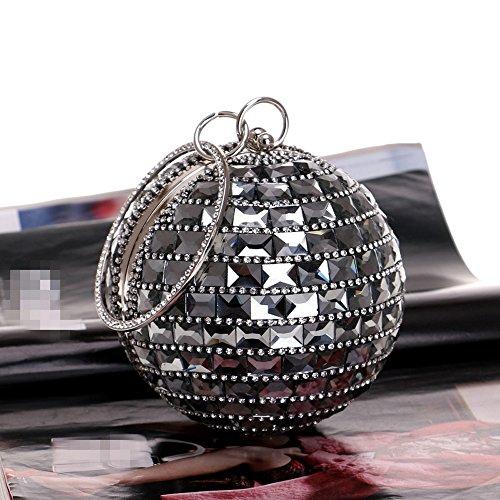 de de Rhinestones Bolsos Diamonds Bolsos Pocket Embrague de Wedding Cristal Circular black KYS Red Party Noche de Mujeres Lady Las Hombro de Metal wqtPaavX