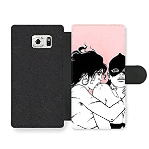Sexy Comic Girls Illustration in Black White and Pink Funda Cuero Sintético para Samsung Galaxy S6 Edge