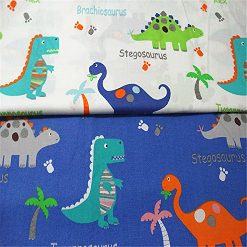 FUYA 2pieces160cmx100cm Dinosaurs Cotton Fabric Patchwork Tissue Cloth Handmade DIY Quilting Sewing Baby&Children Sheets Dress Material -