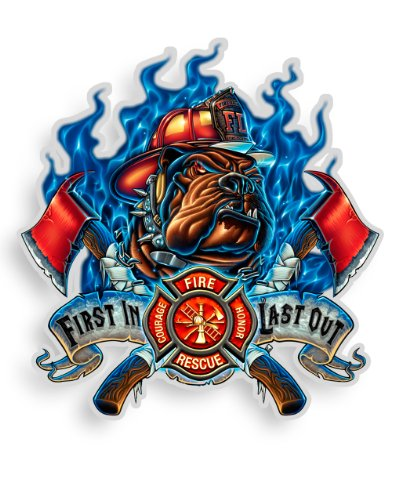 (Collectible Firefighter Decals (12in), Share your Support with our Vinyl Firefighter First In last Out Stickers for your Home, Car, Cases and more, Souvenir Gifts for Firefighter)