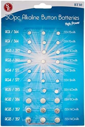 SE BT30 Batteries - Assorted Button Cell, 30 Pc