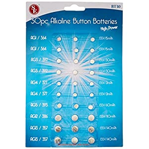 SE Assorted Alkaline Button Batteries (30 PC.) – BT30