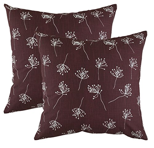 Cotton Floral Slipcover - TreeWool, (2 Pack) Throw Pillow Covers Dandelion Accent Decorative Pillowcases Toss Pillow Cushion Shams Slips Covers for Sofa Couch in Cotton Linen (18 x 18 Inches / 45 x 45 cm; Burgundy)