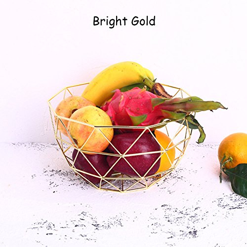 Euro Antique Simple Art Fresh Fruit Container Dry Steel Metal Basket Iron Wire Organizer Vegetable Rack Storage Tray Holder Table Snack Bowl Artificial Display Cool Gift Round Tiered (Bright Gold)