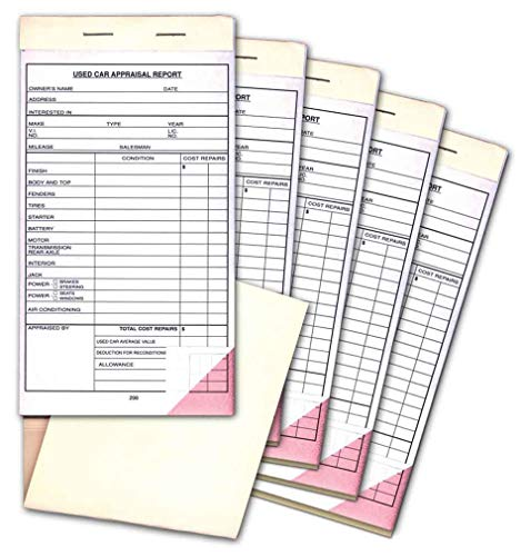 Used Car Appraisal Report Book (5-Pack) 2-Part Carbonless Vehicle Form - 4.25 inches x 7.75 inches (5 Books of 25 per Book) (Appraisal Forms)