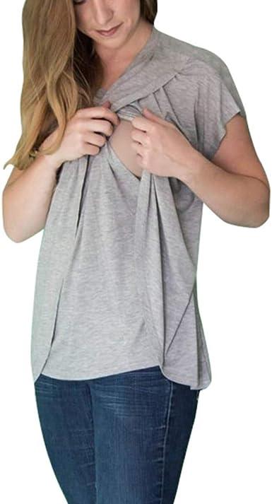 Mitlfuny Camiseta de Mujer Maternidad de Doble Capa, premamá Lactancia Blusa sin Manga Camisas Madre Embarazada Camiseta de Manga Corta con Cuello Redondo y Camiseta Superior para Amamantar: Amazon.es: Ropa y accesorios