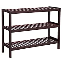 SONGMICS 3 Tier Shoe Rack Bamboo Wood Storage Shelf for Entryway Hallway Bathroom for Boots Heels Bag Holder Stand Organizer