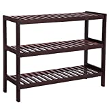 SONGMICS 3 Tier Shoe Rack Bamboo Wood Storage Shelf for Entryway Hallway Bathroom for Boots Heels Bag Holder Stand Organizer Brown UBCB03C