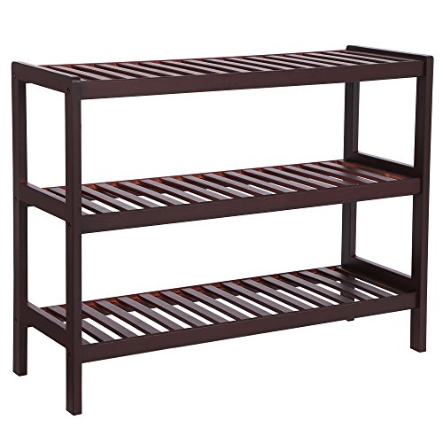 3 Piece Maple Finish Wood - SONGMICS 3 Tier Shoe Rack Bamboo Wood Storage Shelf for Entryway Hallway Bathroom for Boots Heels Bag Holder Stand Organizer Brown UBCB03C