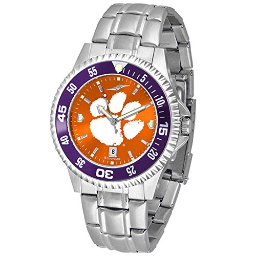 Clemson Tigers Competitor Steel AnoChrome Color Bezel Men's Watch (Competitor Tigers Steel Watch)