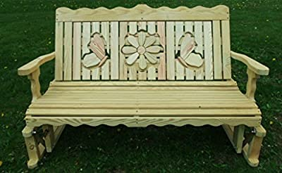 5 Foot Pressure Treated Pine Designs Butterflies and Daisy Cutout Glider Bench