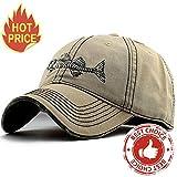 fishing cap - AKIZON Men's Adjustable Cotton Baseball Cap Fishing Style, Beige