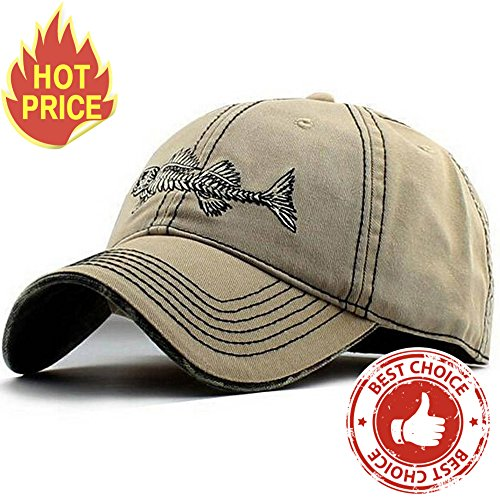 AKIZON Men's Adjustable Cotton Baseball Cap Fishing Style, Beige